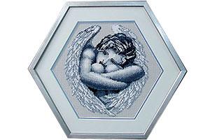 Вышивка крестиком ангел в шестиугольной раме