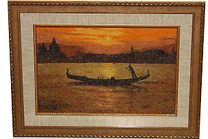 Вышивка в техник гобелен - Закат в Венеции