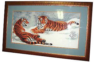 Вышивка крестом тигры на снегу