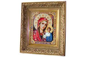 Икона бисером Казанская Богородица в раме