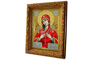 Вышивка бисером Богородица Семистрельная в раме