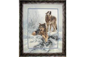 Вышивка крестом волки с дорисовкой фона