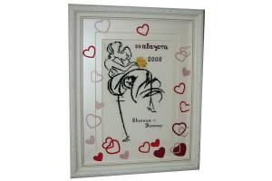 Вышивка свадебная метрика с декором бумажными сердечками